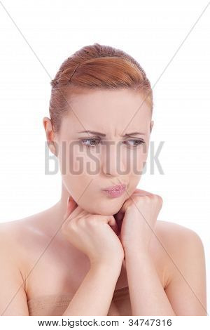 Young Beautiful Woman Portrait  Emotion Isolated