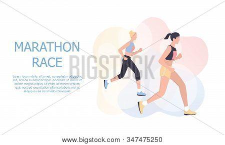 Marathon Poster Design Concept. People Run A Marathon, Jogging Man And Woman.