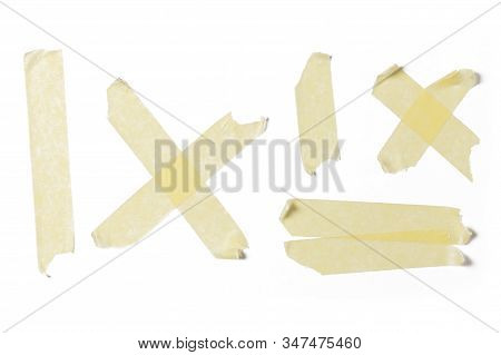 Yellow Sticky Tape Collection, Duct Strips Isolated On White Background.
