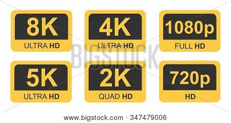 Golden 8k, 4k, 5k Ultra Hd Video Resolution Icon Logo High Definition Tv Game Screen Monitor