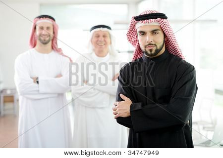 Happy smart business man arabic with team mates