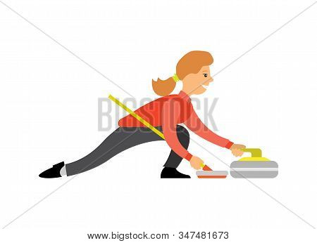 Curling Famous English Sport, Woman With Curling-broom Pushing Granite Stone On Ice, Isolated Cartoo