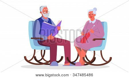 Grandfather Reading A Book. Old Lady Knitting In The Armchait.