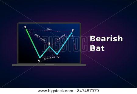 Bearish Bat - Harmonic Patterns With Bearish Formation Price Figure, Chart Technical Analysis. Vecto