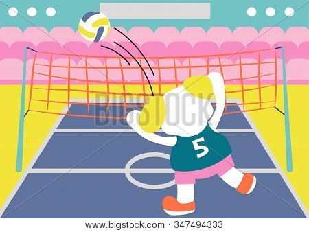 Cartoon Cute Dog Volleyball Player Vector Kids Book Illustration. Puppy Playing Volley Sport Activit