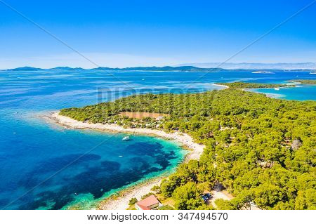 Island Of Dugi Otok In Croatia, Adriatic Sea In Summer, Panoramic View Of Beaches And Pine Forest On
