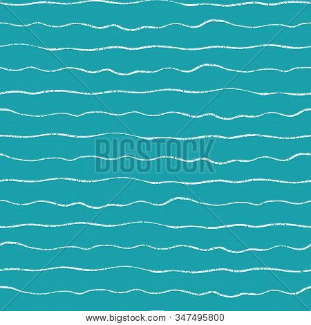 Linear Geometric Doodle White Water Waves Or Lines With Grunge Texture. Seamless Horizontal Vector P