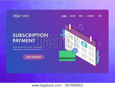 Subscription Payment Ui Ux Vector Web Template Or Landing Page. Monthly Subscription Basis Fee Conce