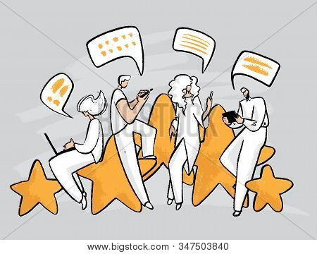 Feedback, Survey Vector Handdrawn Concept With People, Man And Woman Sitting On Big Rating Stars, Wr