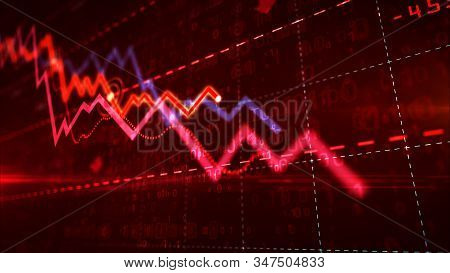 Stock Markets Down Chart On Grid Background. Abstract Concept Of Financial Stagnation, Recession, Cr