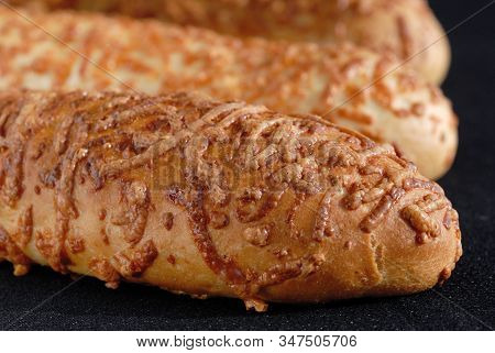 Freshly Baked Hot Delicious Sprinkled Buns Closeup