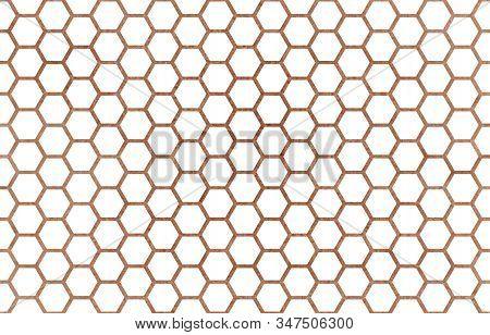 Watercolor Brown Geometrical Comb Pattern. Hexagonal Grid Design.