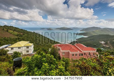 Tortola, British Virg. Islands - December 16, 2018: View Over The Roof Tops Of Tortola Towards The I