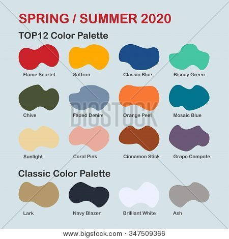 Spring / Summer 2020 Trendy Color Palette. Fashion Color Trend. Palette Guide With Named Color Swatc