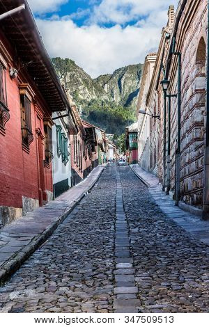 Bogota, Colombia - February 4, 2017 : colorful Streets in La Candelaria aera Bogota capital city of Colombia South America
