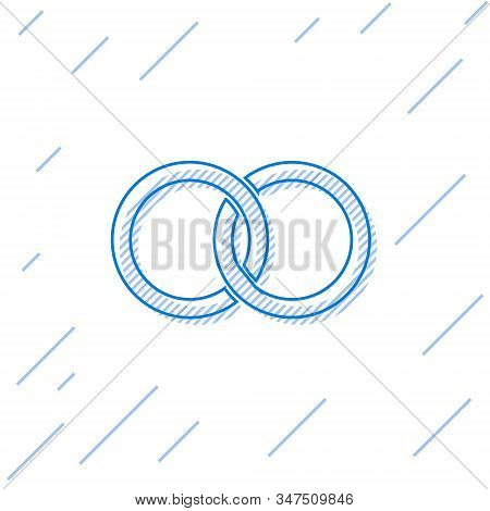 Blue Line Wedding Rings Icon Isolated On White Background. Bride And Groom Jewelery Sign. Marriage I