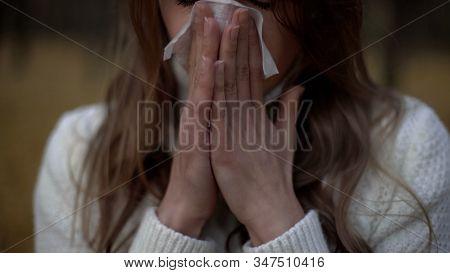 Girl Suffering From Runny Nose And Teardrop Problem, Symptom Of Seasonal Virus