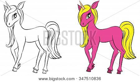 Vector Isolated Pony. Coloring Of Unicorn. Colored Pink Cartoon Pony. Coloring And Colorful Unicorn.
