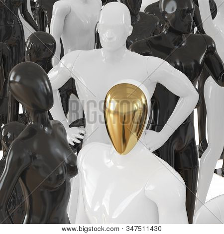 Male Mannequin With A Golden Face On A Background Of A Group Of Black And White Mannequins. 3d Rende