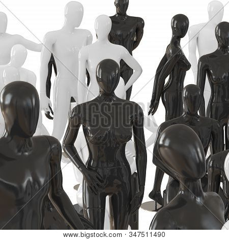 Female Black Mannequin Surrounded By A Group Of Different Mannequins. 3d Rendering