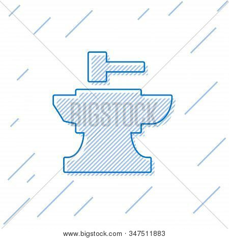 Blue Line Anvil For Blacksmithing And Hammer Icon Isolated On White Background. Metal Forging. Forge