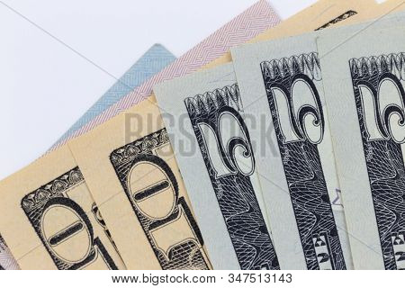 American dollar banknotes, business background with empty copy space for your text