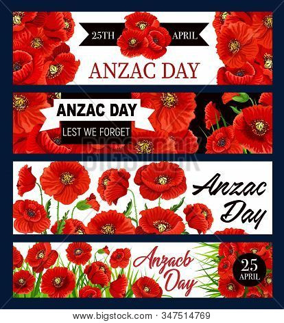 Anzac Day Poppy Flowers Vector Banners And Black Ribbon, National Remembrance Day Of Australia And N