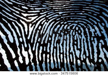 Metal Fingerprint Sculpture, Art Of The Sculptor Juanjo Novella On Mount Artxanda, Bilbao, Biscay, B