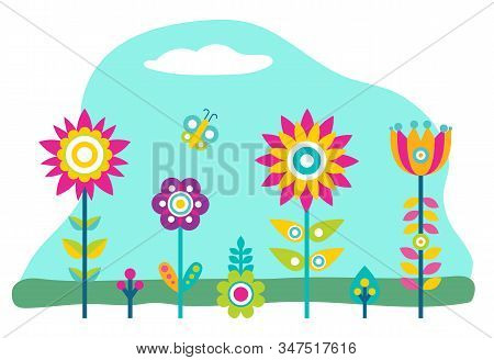 Plants Growth In Garden Or Field. Flowers That Grown Indoor In Potting Soil. Colorful Vegetation Wit