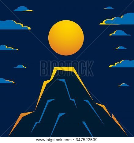 Beautiful Mountain Landscape With Moon In The Night, Moon Over Peak Scenic Nature Vector Illustratio
