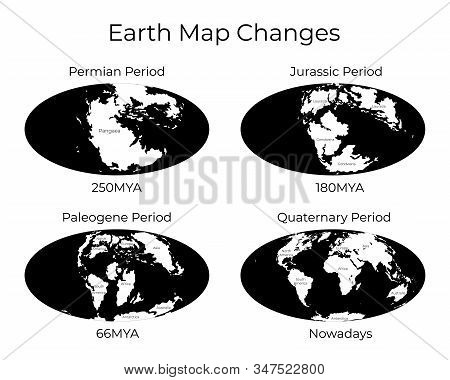 Monochrome Vector Illustration Of Worldmap With Names Of Continents Isolated On Background. Map Of T