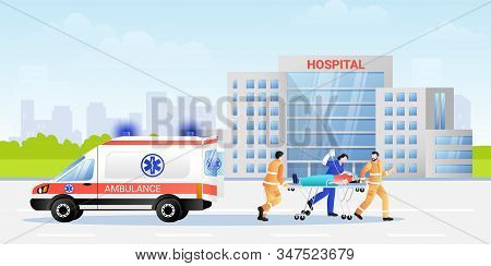 Paramedic And Hospital Nurse Carrying Patient In Stretcher From Ambulance Car. Vector Flat Illustrat
