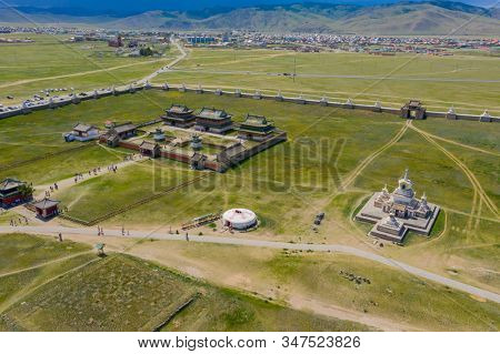 Aerial view of the Kharkhorin Erdene Zuu Monastery in Kharkhorin (Karakorum), Mongolia. Karakorum was the capital of the Mongol Empire between 1235 and 1260.