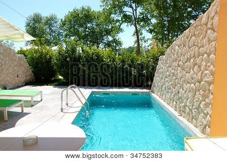 Outdoor Swimming Pool At Luxury Villa, Pieria, Greece