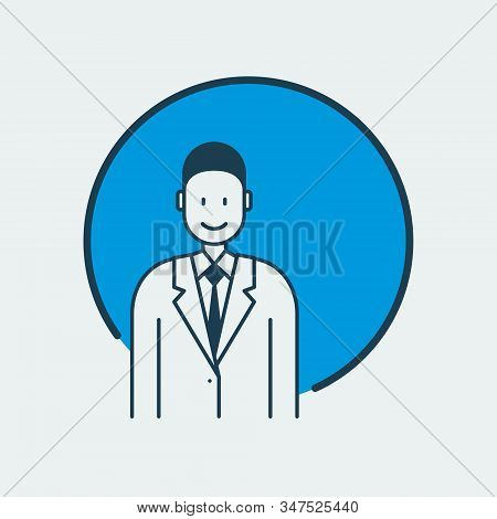 Vector Icon Of A Doctor Standing In A Medical Gown And A Tie. It Represents Medicine Overall And Fam