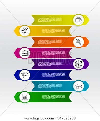 Arrow Infographic Design Elements With 8 Options. Modern Minimalistic Layout For Business With Marke