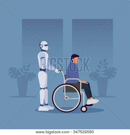 The ai robot carries a man in a wheelchair. Ai. Artificial Inteddect, ai humanoid robot. Ai Vector illustration. Ai illustration,  ai background, ai concept