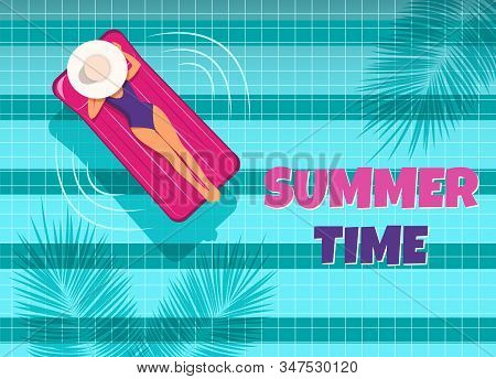 The young woman swims in the pool top view. Hello Summer, summer time, summer day, summer day background, summer banners, summer flyer, summer design, summer with people in the pool, vector illustration. A woman swims in a pool on an air mattress, enjoyin