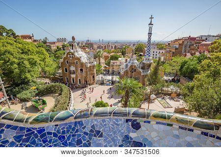 Barcelona, Spain - October, 2019: Walking Barcelona City Streets. Famous Park Guell In Barcelona, Sp