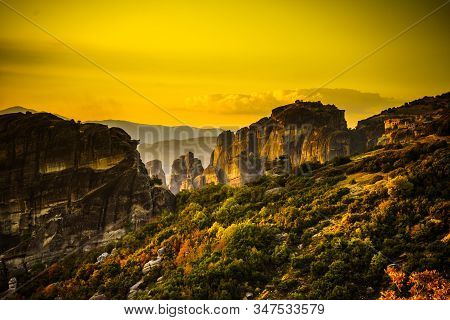 Mountains And Cliffs Rocky Formations In Thessaly Greece.