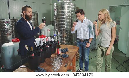 People Degustation Wine With Sommelier. Bearded Sommelier Showing How To Taste Wine Correctly To You
