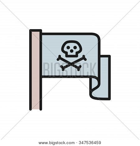 Pirate Flag, Jolly Roger Flat Color Line Icon.