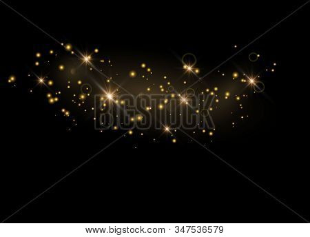 Glittering Particles Of Fairy Dust. Sparks Glitter Special Light Effect. Vector Glitters On A Black