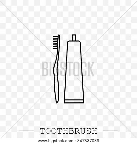 Vector Line Icon Of Toothbrush And A Tube Of Toothpaste. Toothbrush Icon Vector. Teeth Cleaning. Lin