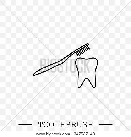 Toothbrush Cleans A Tooth Icon Vector. Teeth Cleaning. Line, Linear With Editable Stroke. Dental Too