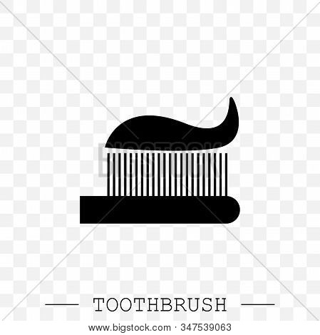 Vector Icon Of Toothbrush With Applied Toothpaste Portion. Toothbrush Icon Vector. Teeth Cleaning. V