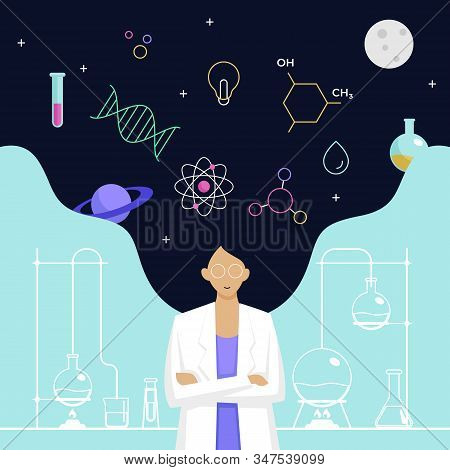 Female Scientist Head With Long Hair Thinking About Complex Science Knowledge Vector Illustration. I