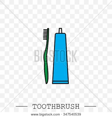 Vector Color Icon Of Toothbrush And A Tube Of Toothpaste. Toothbrush Icon Vector. Teeth Cleaning. Ve