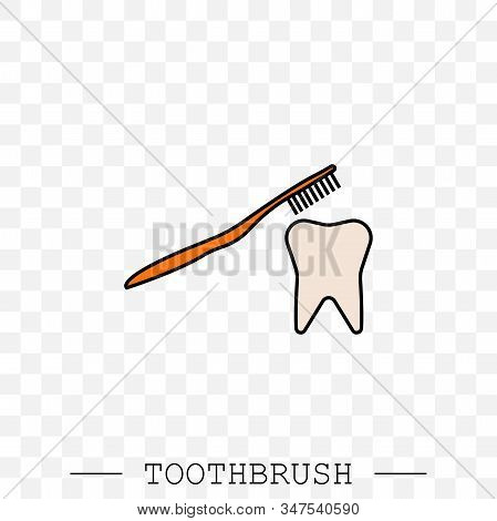 Toothbrush Cleans A Tooth Icon Vector. Teeth Cleaning. Vector With Editable Stroke. Dental Toothbrus