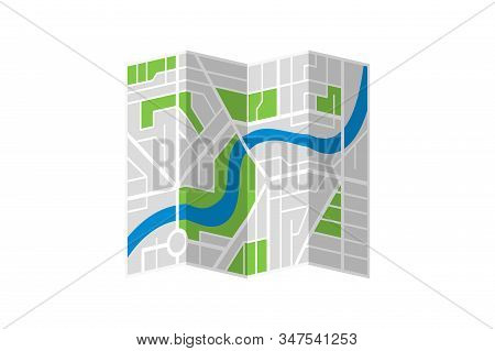 Generic Imaginary City Street Folded Map Plan With River. Vector Colorful Town Flat Eps Illustration
